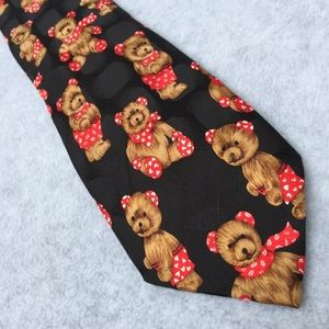 Teddy bear Valentine silk tie